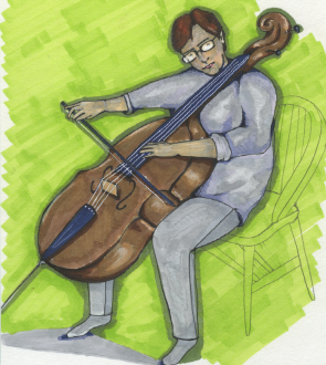 Cellist version 2. I used copic markers, fine tip pens, and mechanical pencil to create this image.
