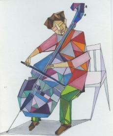 Fractured Cellist. On request of a friend, I drew this picture. I used fine tip pens and copic markers to create this image. Below you can find another version of this caricature.