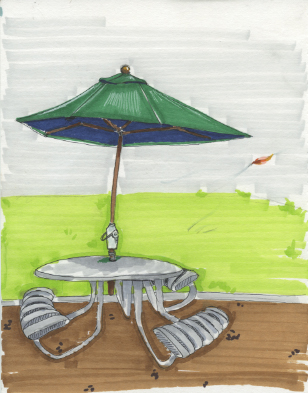 "Freshman Seminar Project ""Animate Everyday Objects"": Windy Day. I used fine tip pens and copic markers to create this image."