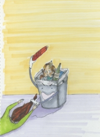 "Freshman Seminar Project ""Animate everyday objects"": Take out the Trash. I used fine tip pens and copic markers to create the image."